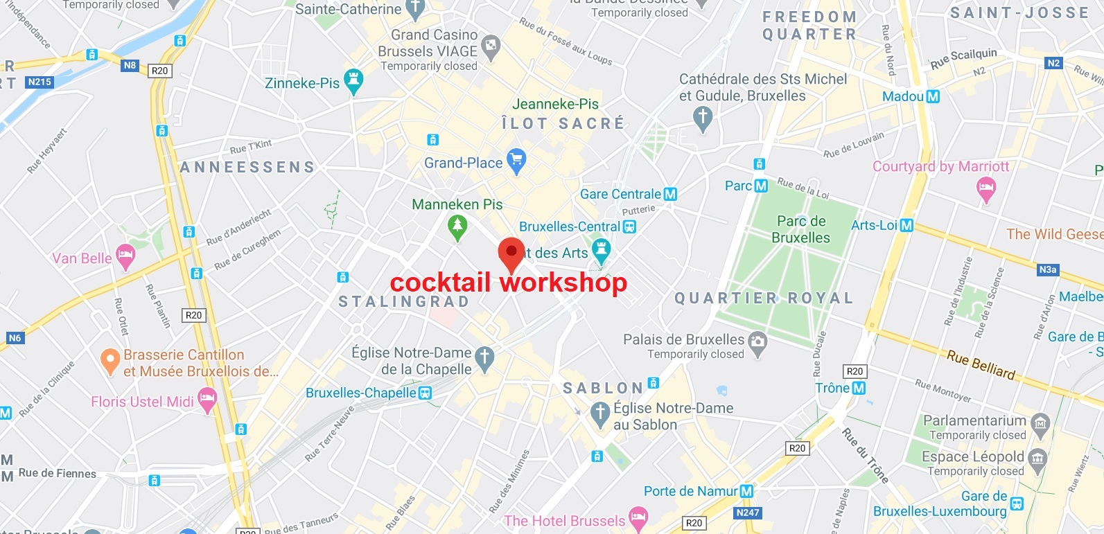map cocktails workshop in brussels meeting point